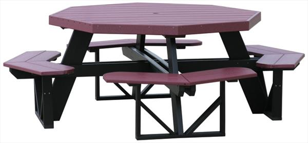 Amish OUTDOOR Furniture Poly Octangular Table with Attached Benches