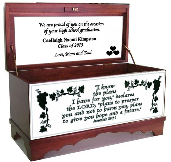 Amish Furniture Hope Chest Cherry Psalm 29:11 Personalized Graduation