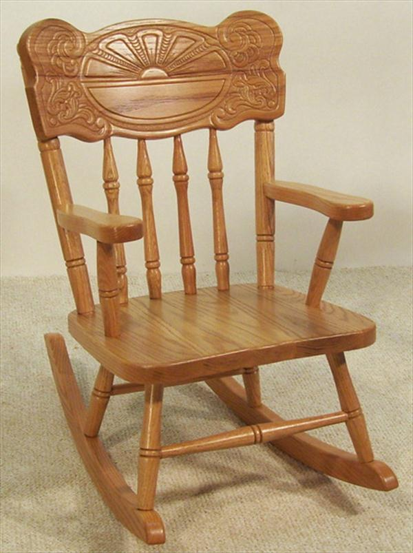 Amish Kids Furniture Rocking Chair, Oak Sunburst Back