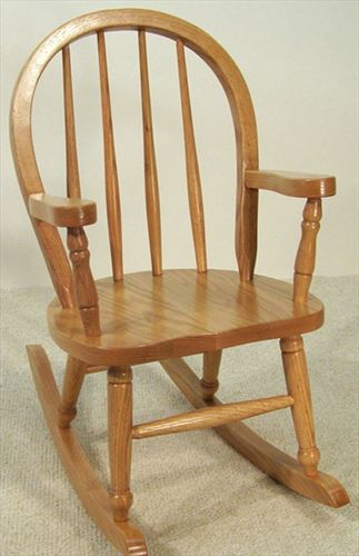 Amish Kids Furniture Rocking Chair, Oak Bow