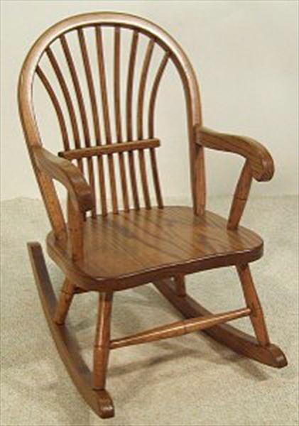 Amish Kids Furniture Rocking Chair, Oak Bow Sheaf