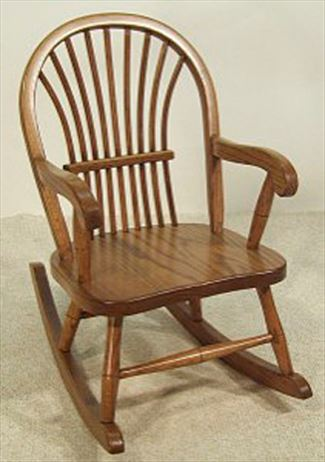 Amish Kids Furniture Rocking Chair, Oak Bow Sheaf