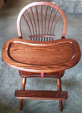 Amish Chairs-Amish Arm Chairs-High Back-Bow Sheaf-Oak