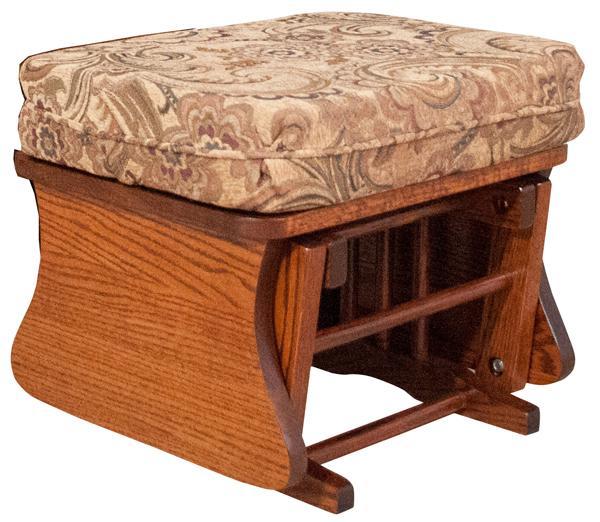 Amish Ottoman Handmade Hardwood Oak & Cherry Gliders Style  Upholstered