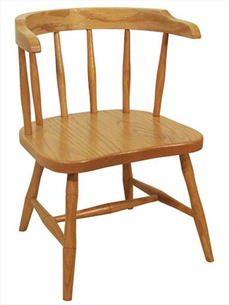 Amish Childs Amish Ohio Furniture Wrap Around  Oak Amish Side Chair with Arms
