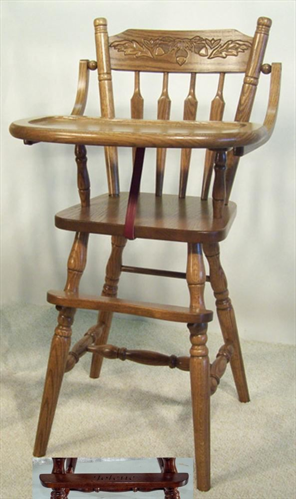 This Amish Baby Furniture Oak Acorn Back High Chair Is A