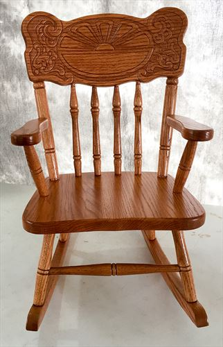 Amish Kids Furniture Rocking Chair, Oak Sunburst Back Mx103 Stain