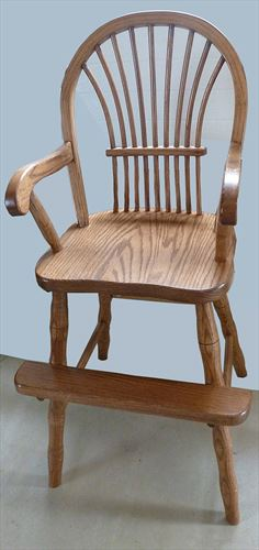 Toddler Youth Furniture HardWood OAK Chair With ARMS Amish BOW SHEAF Style