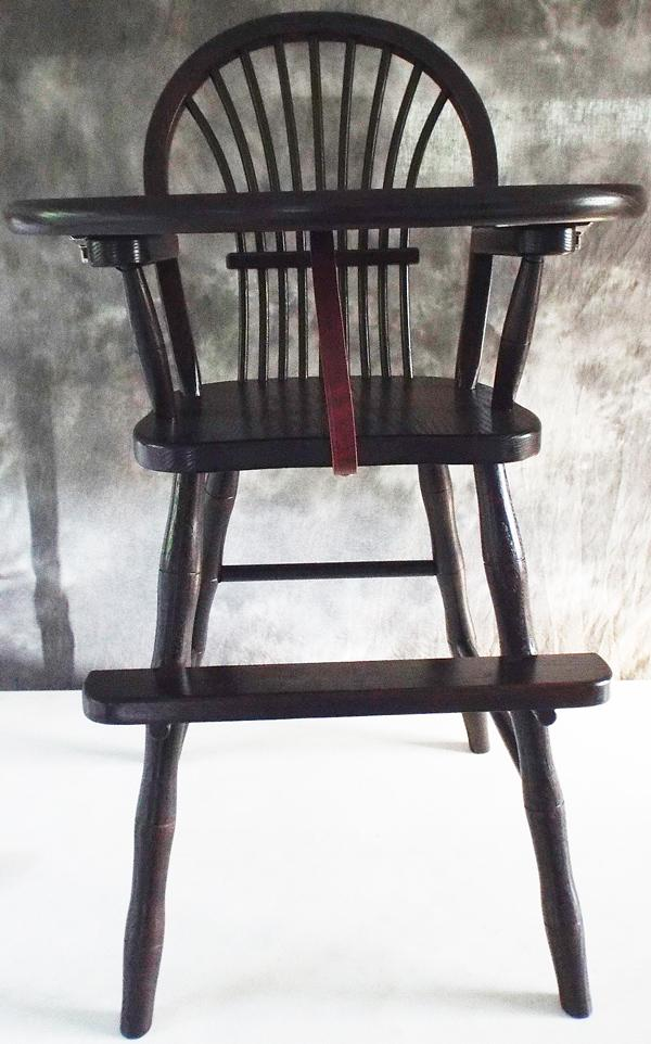 Amish Chairs-Amish High Chairs-Bow Sheaf-Oak-Dark Stain