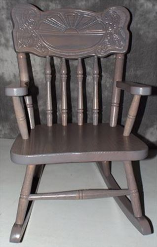 Amish Kids Furniture Rocking Chair, Oak Sunburst Back Pewter Stain