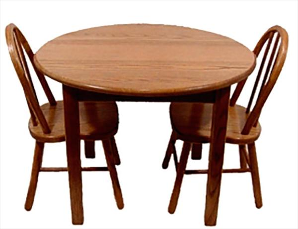 Amish OAK Childs Round Table and Two Childs Two Post Chairs