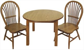 Amish Childs Oak Hardwood Round Table & Two Childs Bow Sheaf Handmade Chairs