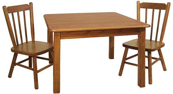 Amish Childs Oak Hardwood Square Table & Two Childs Post Chairs