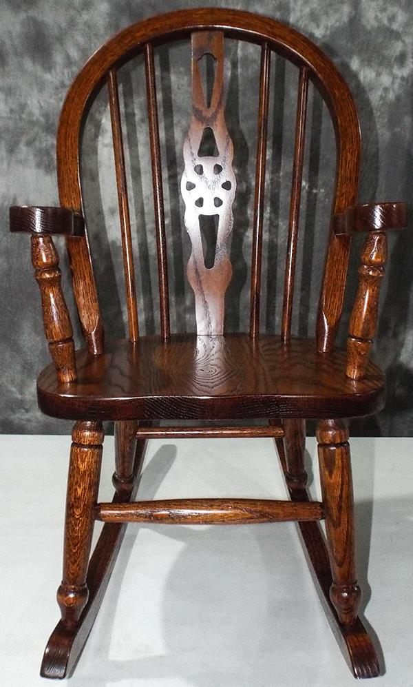 Amish Kids Furniture Rocking Chair, Oak Windsor Back Dark Stain