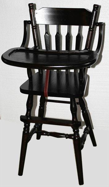Baby Furniture-Wood High Chair-Amish-PLAIN BACK Design-Oak