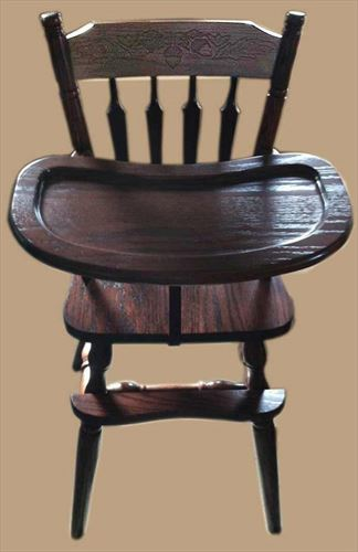 Baby Furniture-Wood High Chair-Amish-PLAIN BACK Design-Oak