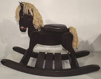 Amish Wooden Onyx BODY & MANE - Rocking Horse-Hand Crafted wooden rocking animal Amish- #10