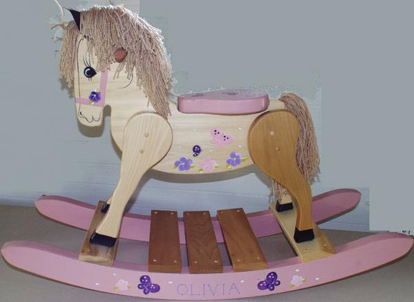 Wooden Rocking Horse-Hand Crafted wooden rocking animal Amish-butterfly Theme-Hand Painted (Personalization Optional)