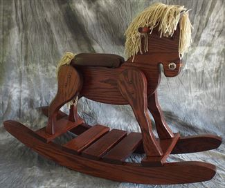 Amish Hardwood Cherry Finish Rocking Horse Padded Seat-Hand Crafted wooden rocking animal