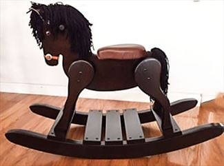 Wooden Onyx ALL BLACK BODY & MANE - Rocking Horse-Hand Crafted wooden rocking animal Amish- #10