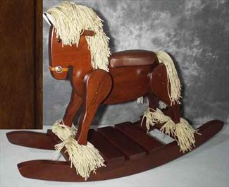 Amish Wooden Cherry or OAK Hardwood Padded Seat Draft Belgian Percheron Heirloom Rocking Horse-Hand Crafted wooden rocking animal