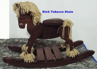 Amish Wooden OAK Rich Tobacco Hardwood Padded Seat Draft Belgian Percheron Rocking Horse-Hand Crafted wooden rocking animal