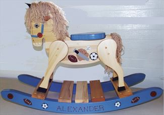 Wooden Rocking Horse-Hand Crafted wooden rocking animal Amish-Sports Theme-Hand Painted (Personalization Optional)
