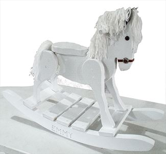 Wooden Rocking Horse-Hand Crafted wooden rocking animal Amish-ALL WHITE-Hand Painted (Personalization Optional)