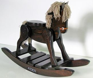 Heirloom Wooden Rocking Horse Onyx-Hand Made Oak Hardwood - #10