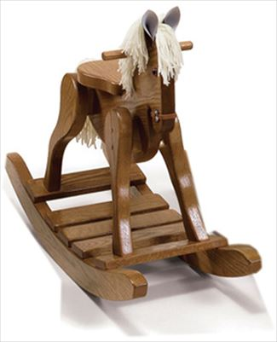 Heirloom Wooden Rocking Horse-Hand Made Oak Hardwood - #10