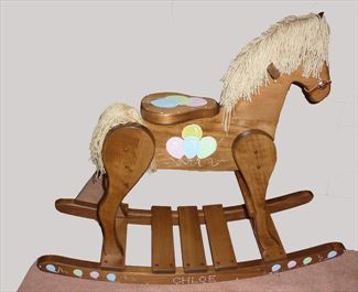 Wooden Rocking Horse-Hand Made Amish-MEDIUM #25 Balloons Painted Personalized