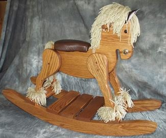 Amish Wooden OAK Hardwood Padded Seat Draft Belgian Percheron Heirloom Rocking Horse-Hand Crafted wooden rocking animal