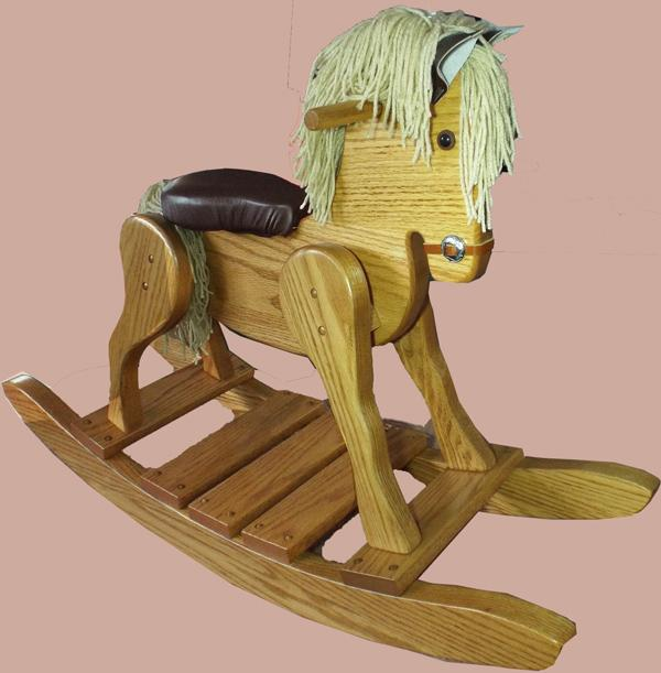 Amish Wooden Rocking Horse Padded Seat-Hand Crafted wooden rocking animal Made Amish- #10
