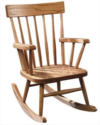 Amish Kids Furniture Rocking Chair, Oak or Cherry Curved ComBack