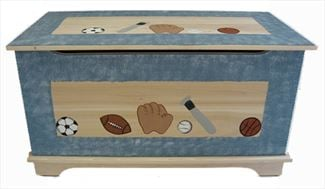 Amish Wooden Toy Box Chest-Sports Themes-Safety Hinges