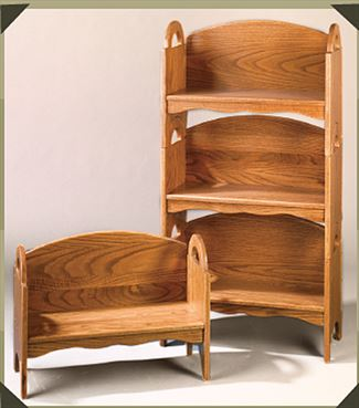Amish Oak Furniture Stacking  Book Shelves and Child Deacon Bench and  .