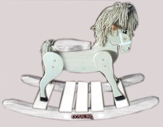 6Wooden Rocking Horse-Hand Crafted wooden rocking animal Amish-ALL WHITE-Hand Painted (Personalization Optional)