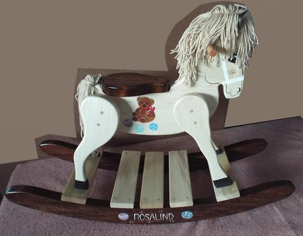 Wooden Rocking Horse-Hand Crafted wooden rocking animal Amish-Teddy Bear Theme-Hand Painted (Personalization Optional)