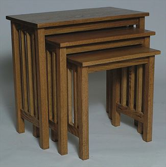 Amish Oak Mission Stacking TV Table Set - Set of Three