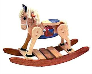 Painted Noah's Ark Rocking Horse-Hand Made Poplar Rocking Horse