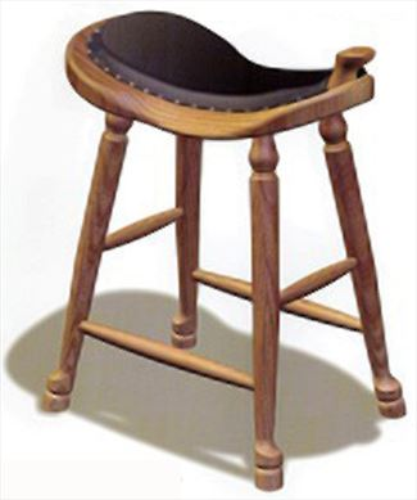 Amish Western Saddle Stool UpholsteredAmish Furniture Oak Cherry Saddle Stool