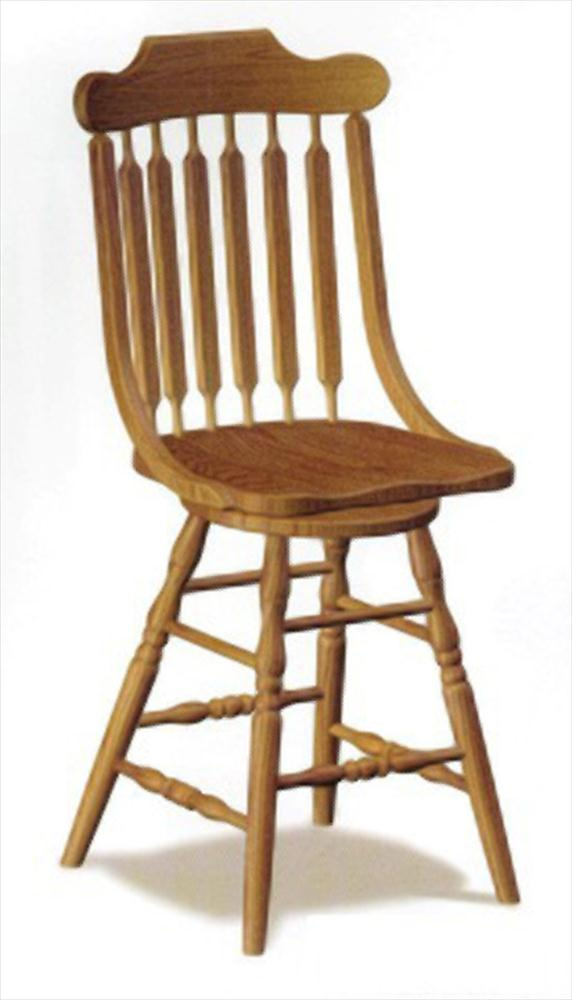 Amish Austin Fixed & Swivel Bar Stool Amish Furniture Oak or Cherry or Brown Maple or QS Oak or Hickory Swivel Stool