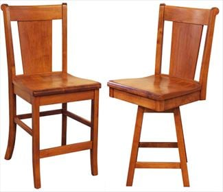 Amish SLAT Backed Dining & Kitchen CURVED BACK Bar Stool furniture oak Lumbar Support back arm Bar Stool chair