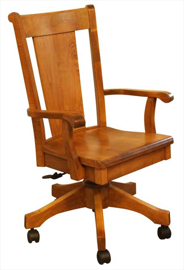 Amish Furniture Handmade Curved Back Desk Chair, height adjustable with full Lumber Support.