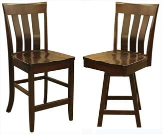 Amish Triple SLAT Back Dining & Kitchen CURVED BACK Bar Stool furniture oak Lumbar Support back arm Bar Stool chair