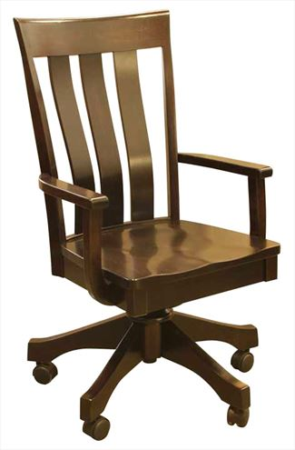 Amish Furniture Handmade Triple Slat Bent Curved Back Desk Chair, height adjustable with full Lumber Support.