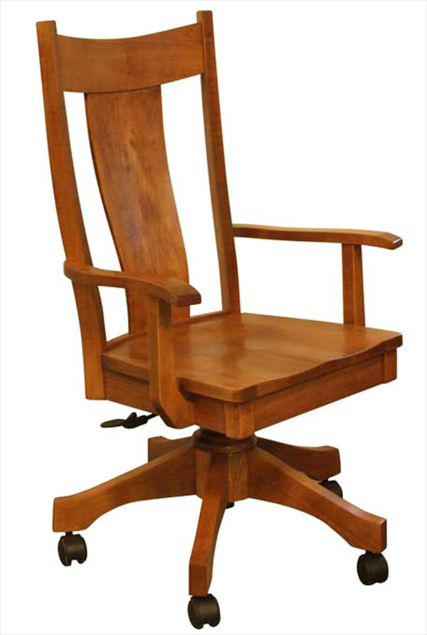 Amish Furniture Handmade Single Slat Bent Curved Back Desk Chair, height adjustable with full Lumber Support.