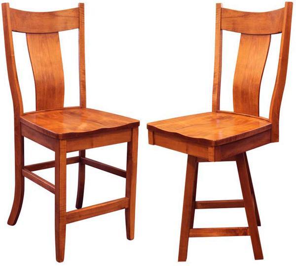 Amish Single Slat Back Dining & Kitchen Bent BACK Bar Hardwood Stool Lumbar Support back arm