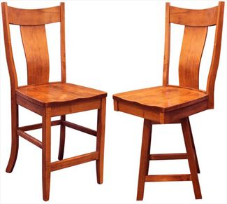 Amish Single Slat Back Dining & Kitchen Bent BACK Bar Hardwood Stool Lumbar Support back arm