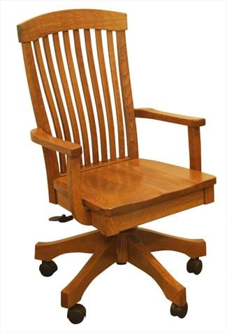 Amish Furniture Handmade Multiple Slat Bent Curved Back Desk Chair, height adjustable with full Lumber Support.